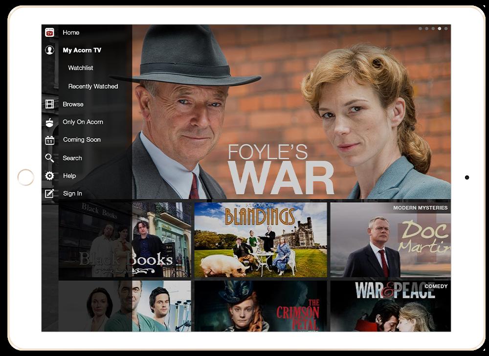 Acorn TV Foyles War iPad App Design